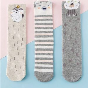 3 Pack Toddler Knee High Animal Socks